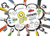 Teamwork Team Together Collaboration People Holding Cloud Concept