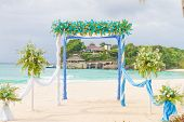 beautiful wedding arch, cabana, beach wedding, tropical wedding set up