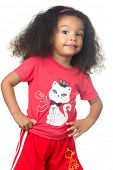 Cute and funny small  african american girl wearing colorful clothes isolated on white