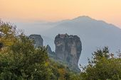 Famouse Monastery Of Meteora In Sunset Light