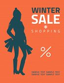 Girl Or Woman On Big Winter Shopping Sale Hold Bags. Sale Poster Vector Illustration.