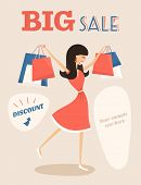 Girl Or Woman On Shopping Sale Hold Bags. Retro Style Sale Poster Vector Illustration.