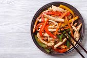 Asian Food: Chicken In Sweet And Sour Sauce With Vegetables Top View
