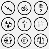 Science set. Black and white set vector icons.