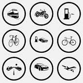 Transport set. Black and white set vector icons.