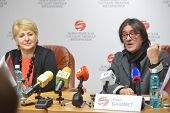 NOVOSIBIRSK, RUSSIA - DECEMBER 5, 2014: Yuri Bashmet and Tatiana Ludmilina talk with press on the opening of the festival Classics. The festival joins the concerts of the World music stars