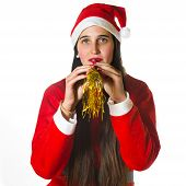 Woman Dressed In Santa Claus With Blower
