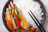 Rice Noodles With Chicken Macro, Horizontal Top View