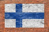 National Flag Of Finland Painted Over Brick Wall