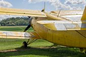 Yellow airplane_Private airfield