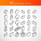 set of 30 isometric vector icons