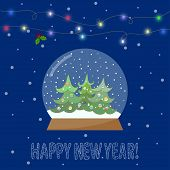 Glass Bowl With Snow And Shining Lights On The Garland For Winter Holidays Greeting Card