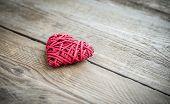 Handmade Retro Heart On The Wooden Background