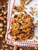 stock photo of baked raisin cookies  - Homemade oatmeal cookies with seeds - JPG