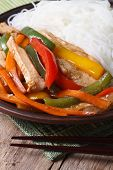 Asian Food: Chicken With Vegetables And Rice Noodles Vertical
