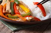 Rice Vermicelli With Chicken And Vegetables. Macro