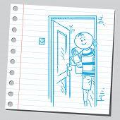 Schoolkid opening door