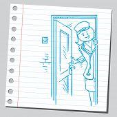 Nurse opening door