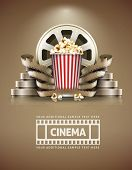 Cinema concept with popcorn and cinefilmss retro style. Eps10 vector illustration