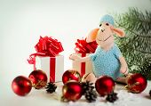 toy lamb with Christmas balls