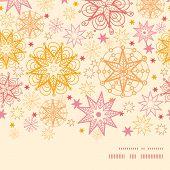 Vector warm stars horizontal frame seamless pattern background