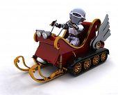 3D Render of a Robot on a snowmobile sleigh
