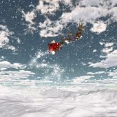 3D render of a snowy landscape with Santa and his reindeers