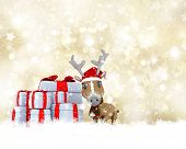 stock photo of rudolph  - Gold Christmas background with a cute reindeer - JPG