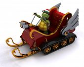 3D render of a tortoise in a snowmobile sleigh