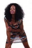 Attactive Skinny Black Teen Girl Standing In Dress