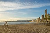 foto of costa blanca  - Benidorm beach under late afternoon sun Costa Blanca Spain - JPG