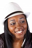 Smiling African American Woman In Hat Portrait