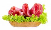 Sandwich With Salami Sausage On White Background
