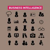 business intelligence, research, management icons, signs set, vector