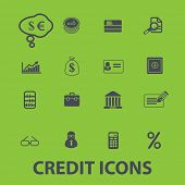 credit, bank icons, signs set, vector