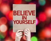 Believe In Yourself card with colorful background with defocused lights