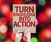 Turn Knowledge Into Action card with colorful background with defocused lights