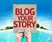Blog Your Story card with a beach on background