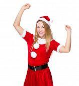 Happy Christmas woman in Santa suit