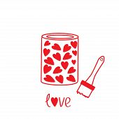 Love Paint With Hearts Inside. Card