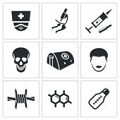 Epidemic Protection And Medical Icons Set