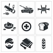 Refugees And Fighting Vector Icons Set