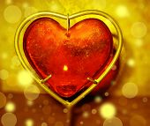 Burning Heart With Flames Against Gold Background
