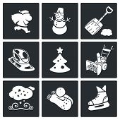 New Years Eve And Christmas Vector Icons Set
