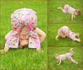 Muitas fotos de menina na grama, colagem