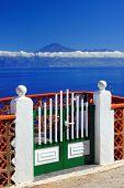 Agulo and El Teide Volcano, La Gomera, Spain, Europe