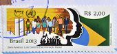 BRAZIL - CIRCA 2013: A stamp printed in Brazil dedicated to the fight against racial discrimination