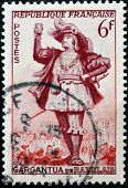 FRANCE - CIRCA 1953: a stamp printed in France shows image of Gargantua the literary character