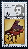 HUNGARY - CIRCA 1985: A stamp printed in Hungary shows image of the famous composer Frederic Chopin