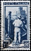 ITALY - CIRCA 1950: A stamp printed in Italy shows image of lo scalo (liguria) circa 1950